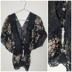 Floral and Lace Batwing Blouse